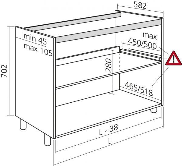 Spoelkast H702 keuken zonder front zelfbouw Wit