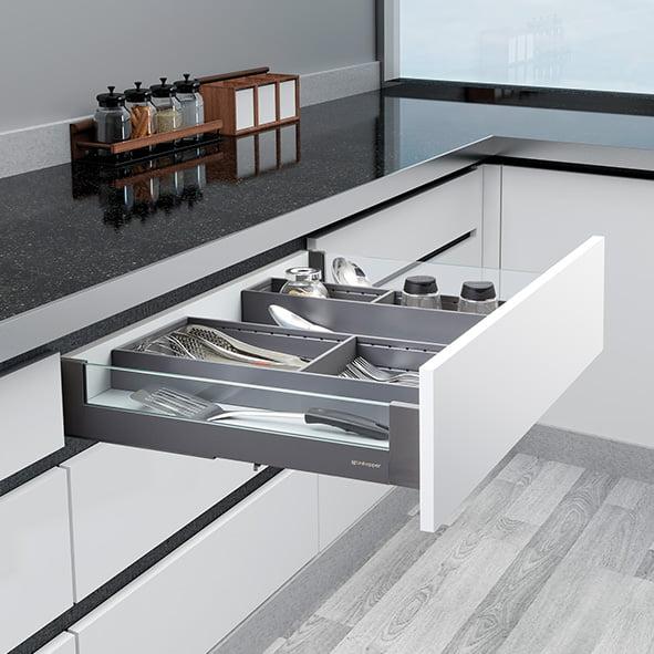 Slimbox lades op maat H80mm Glas